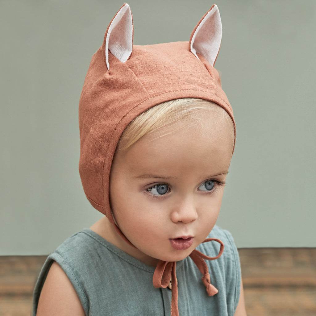 Fox Linen Baby Bonnet