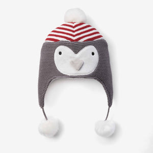 Holiday Penguin Aviator Knit Baby Hat