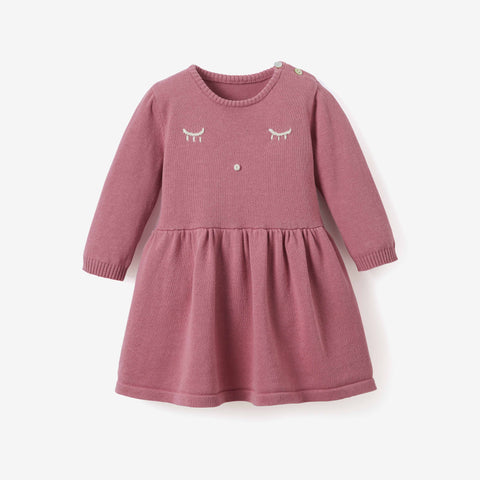 Mauve Embroidered Wink Fine Knit Baby Dress