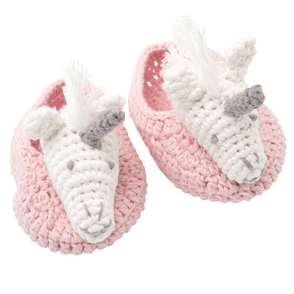 Unicorn Hand Crocheted Baby Booties