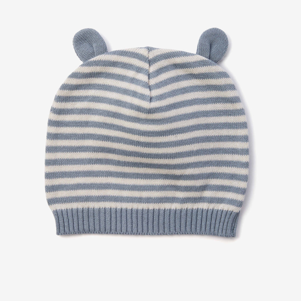 Light Teal Stripe Knit Baby Hat with Ears