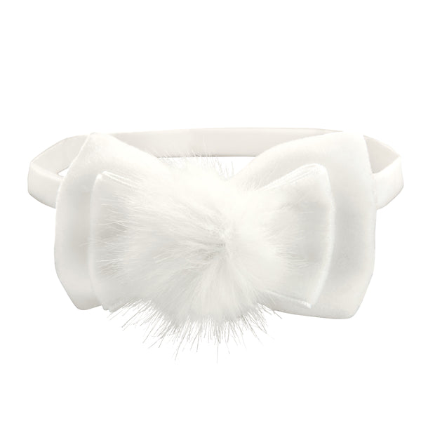White/Pink Pom Pom Baby Girl Headband 2 Pack