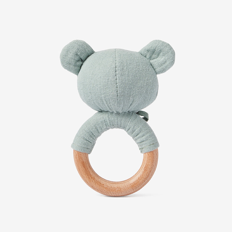 Light Sage Bear Wooden Baby Rattle