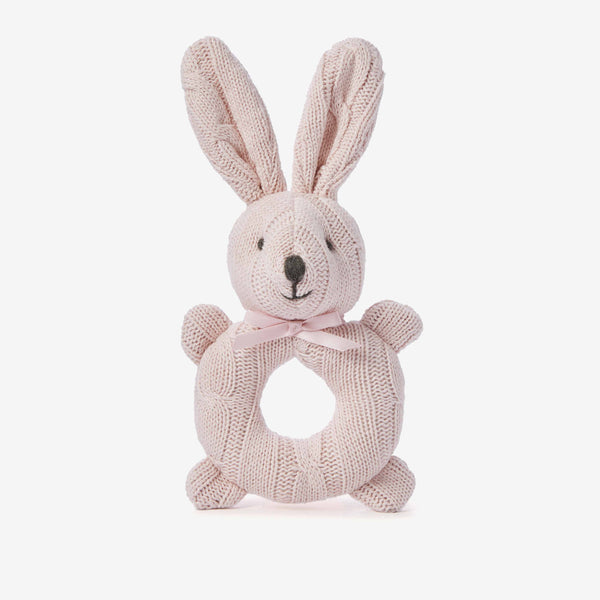 Chalk Pink Cable Knit Bunny Baby Rattle