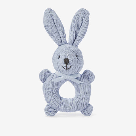 Pale Blue Cable Knit Bunny Baby Rattle