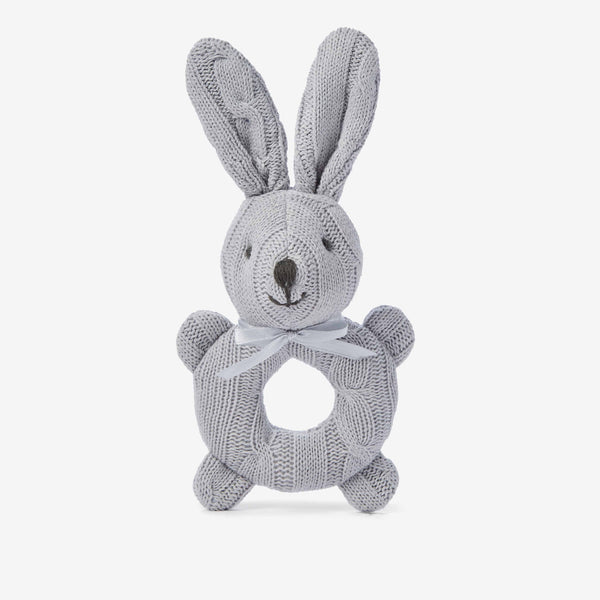 Gray Cable Knit Bunny Baby Rattle