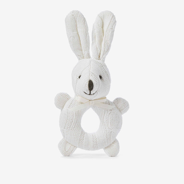 Cream Cable Knit Bunny Baby Rattle