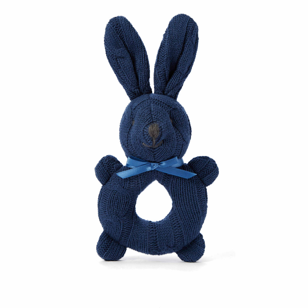 Navy Cable Knit Bunny Baby Rattle