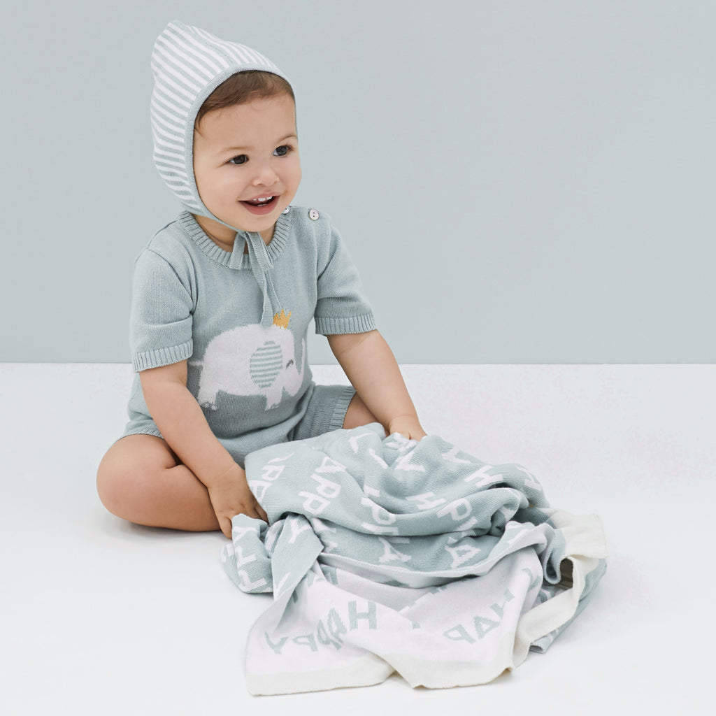 Sage Mini Stripe Cotton Knit Baby Bonnet