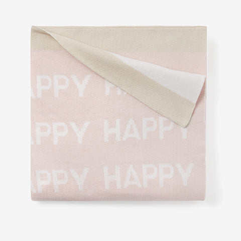Blush Happy Cotton Knit Baby Blanket