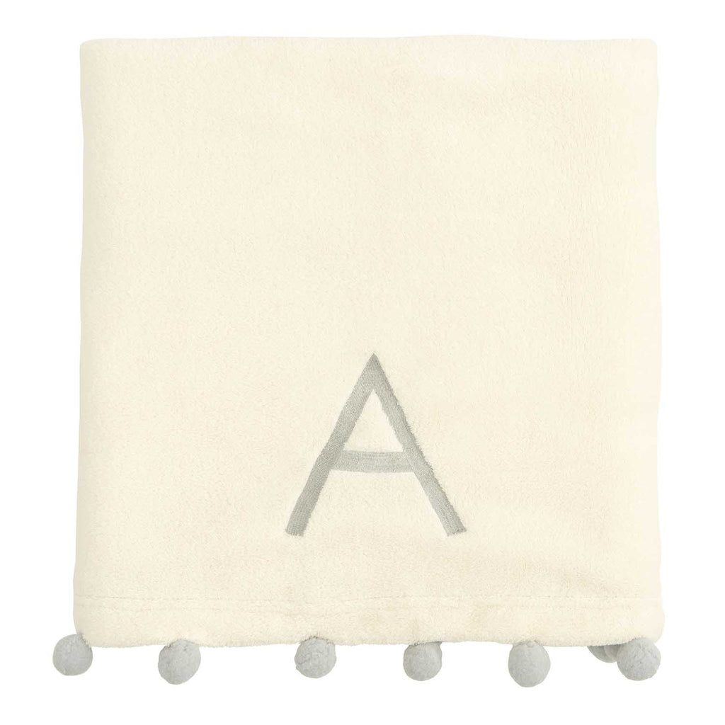 Gray Pom Trim Fleece Baby Stroller Blanket