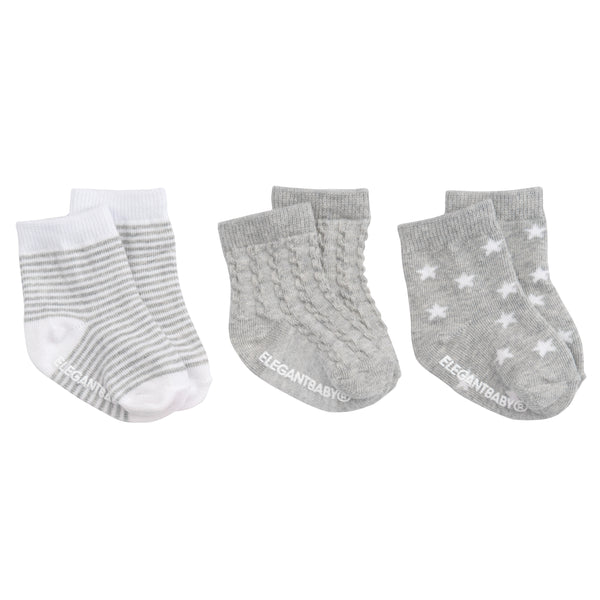 Gray Tonal Cotton Baby Socks 3 pk