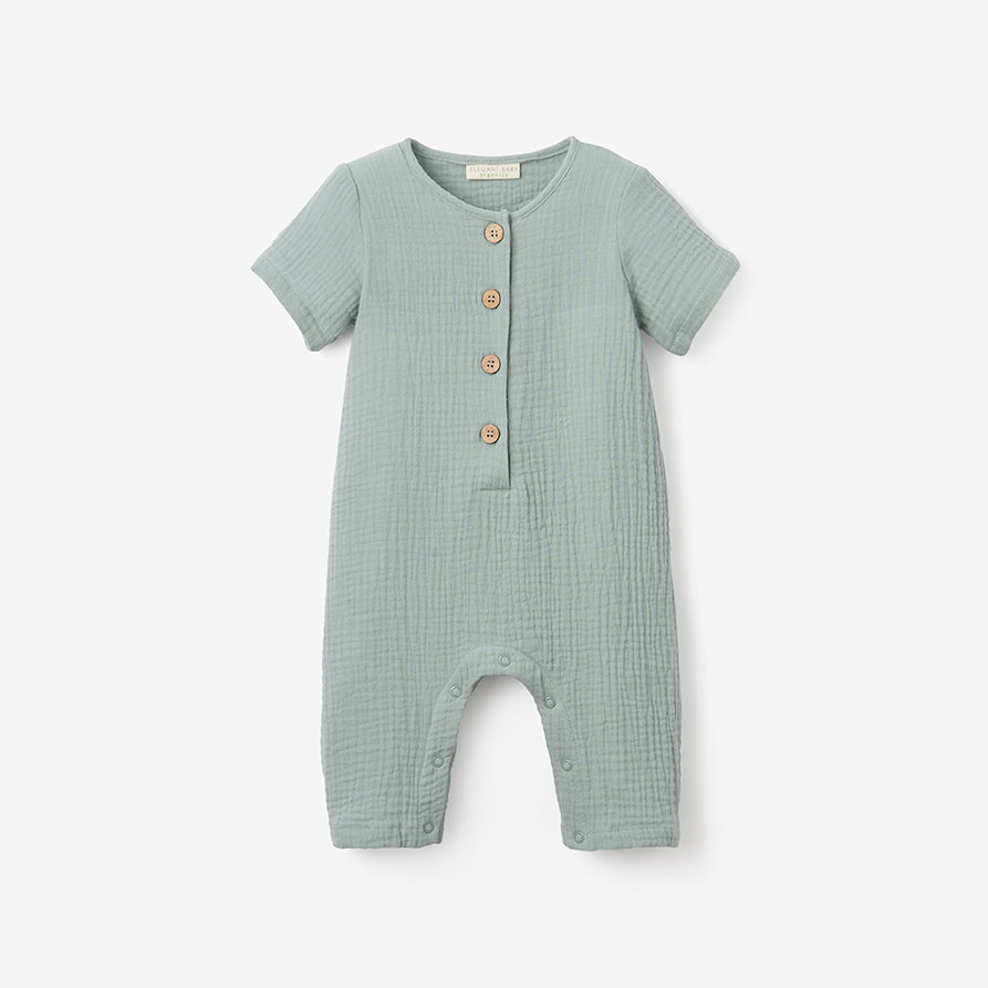 Light Sage Organic Muslin Baby Jumpsuit