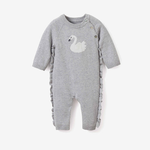 Swan Ruffle Cotton Knit Baby Jumpsuit