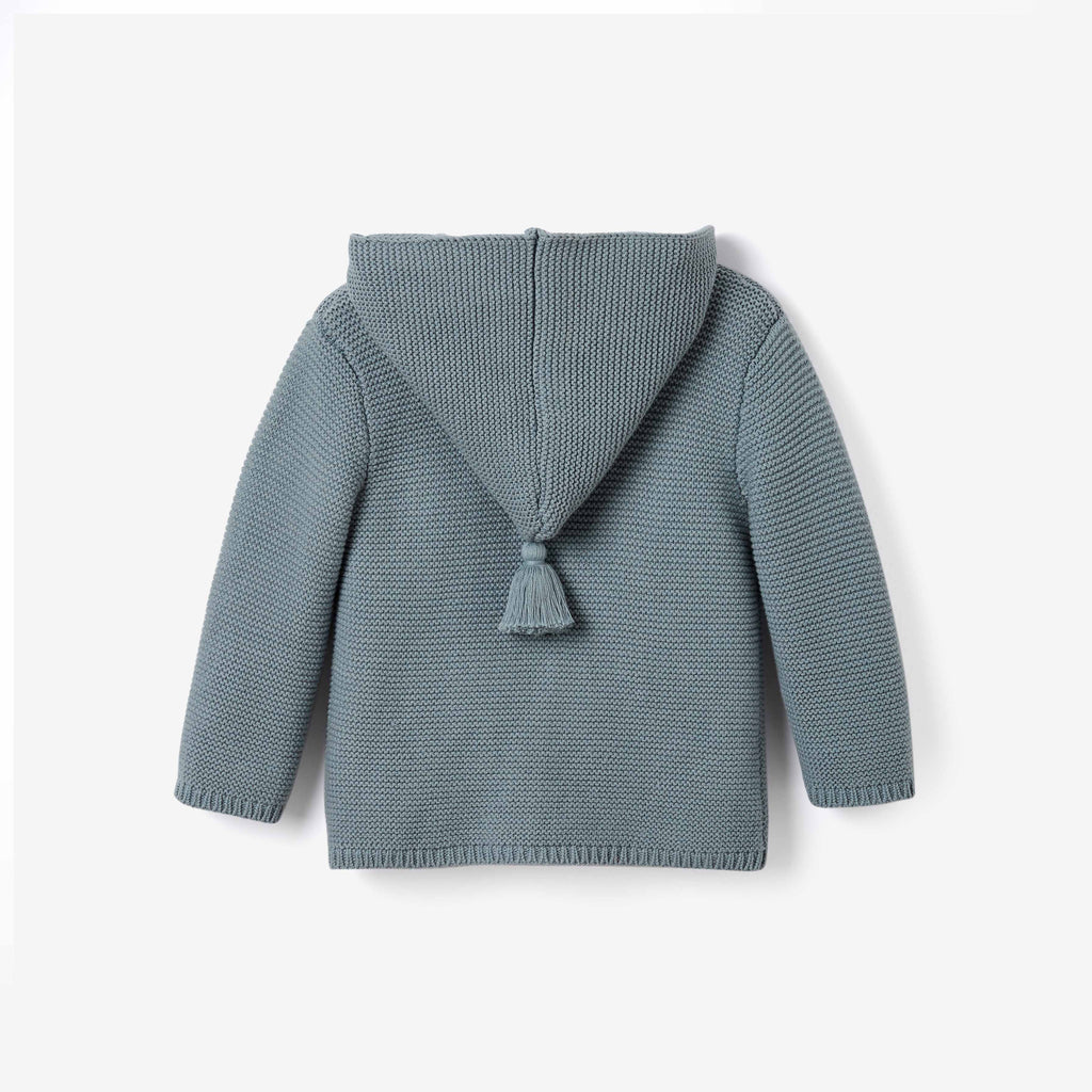 Light Teal Hooded Tassel Knit Baby Sweater