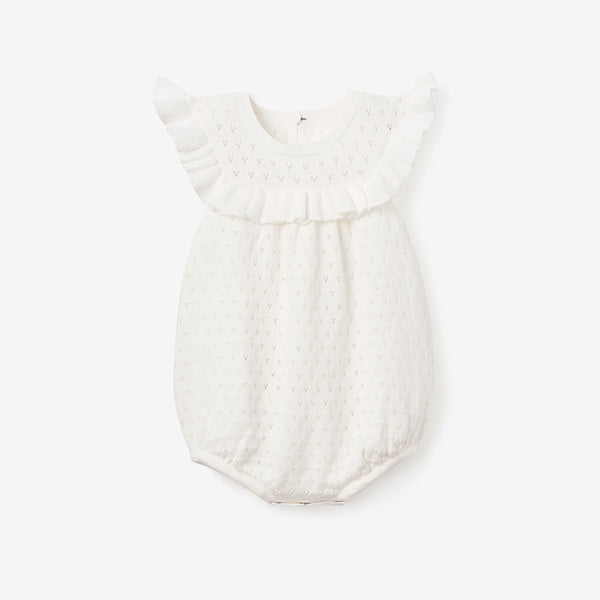 White Pointelle Knit Baby Bubble Romper