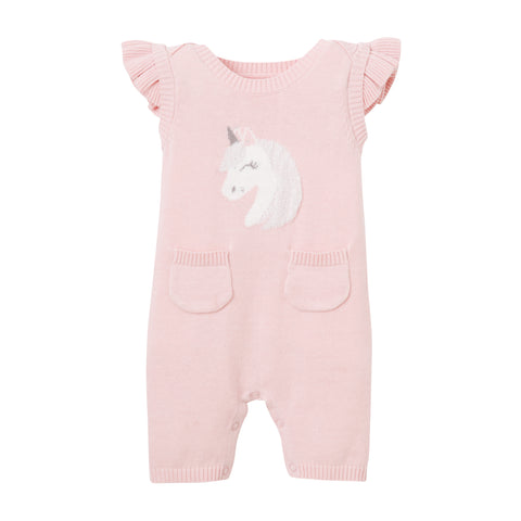Pink Unicorn Shortall Baby Bodysuit