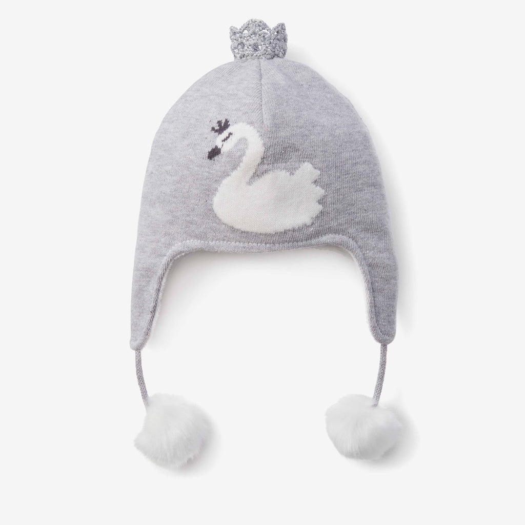Swan Aviator Knit Baby Hat