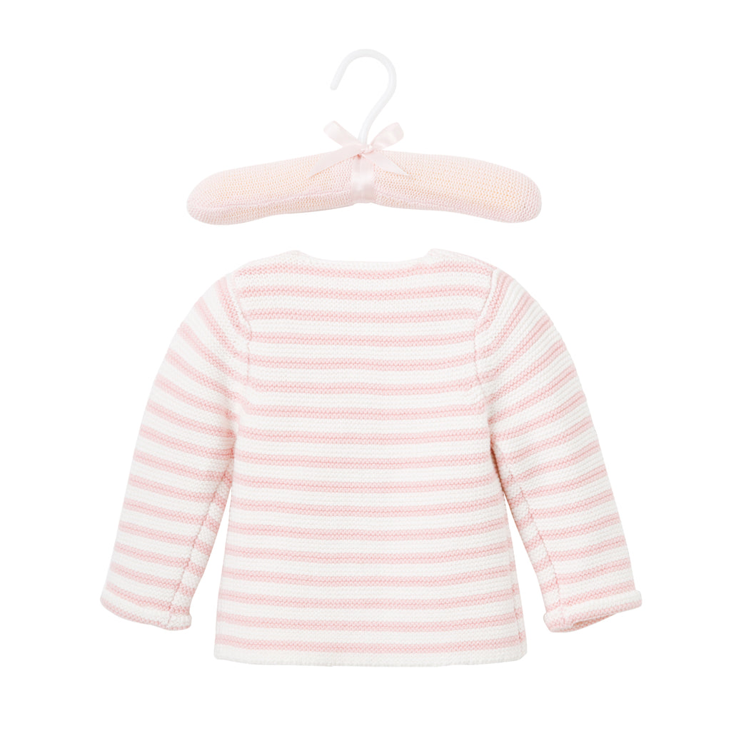 Pink Stripe Single Breast Knit Cardigan