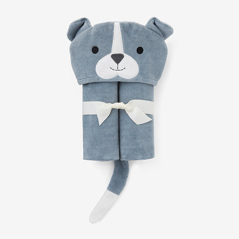 Slate Puppy Hooded Baby Bath Wrap