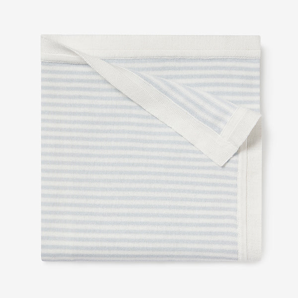 Cloud Blue Mini Stripe Cotton Knit Baby Blanket