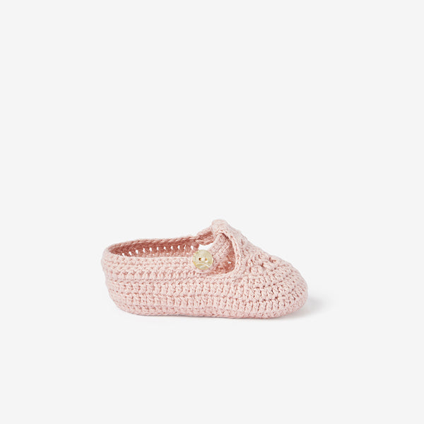 Blush T-Strap Hand Crocheted Baby Booties