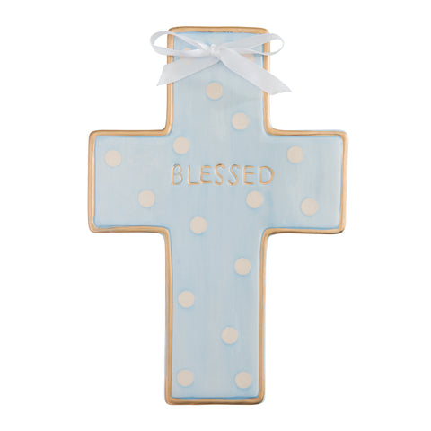 Ceramic Cross Wall Art. Blue Dot.