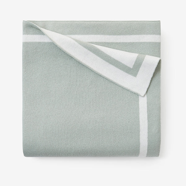 Sage Tuxedo Stripe Reversible Cotton Knit Baby Blanket