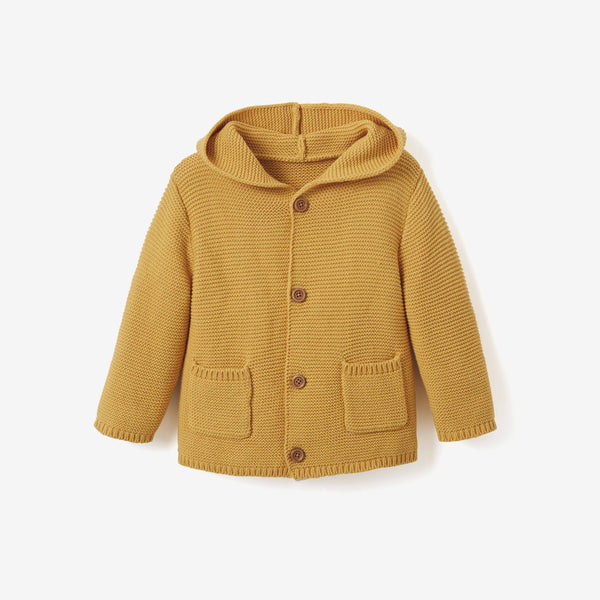Mustard Hooded Tassel Knit Baby Sweater