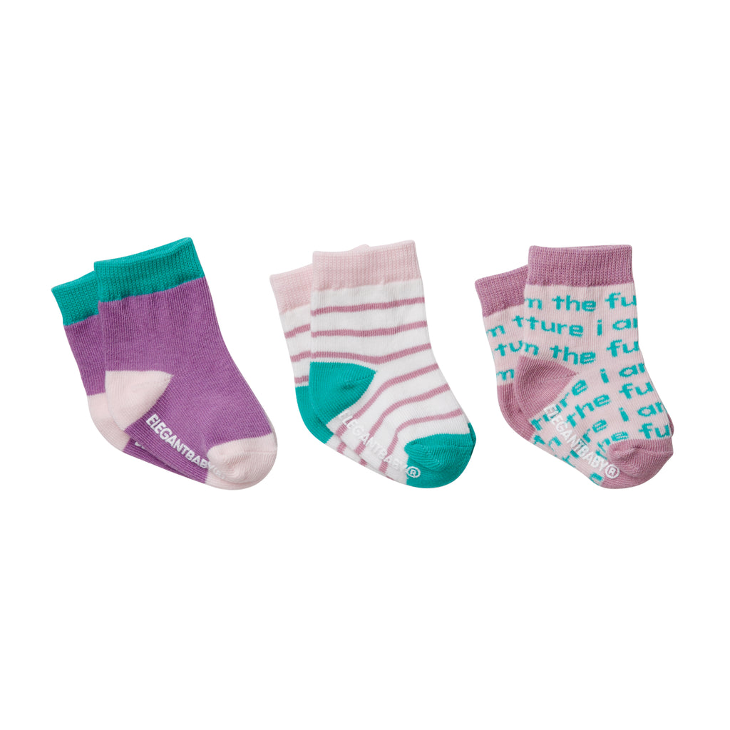 Girls' Organic Cotton Baby Socks 3 Pk