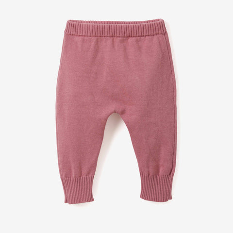 Mauve Fine Knit Cotton Baby Pant