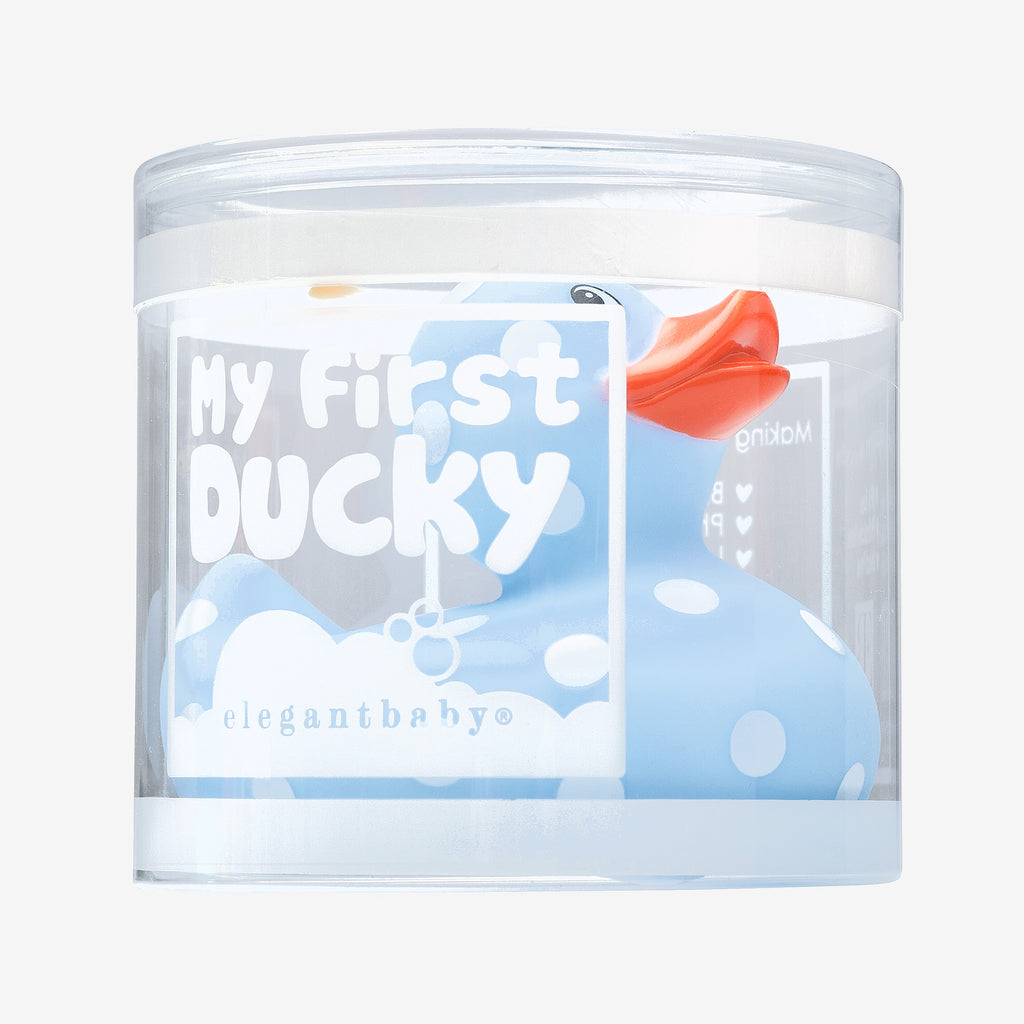 Blue Polka Dot Rubber Duckie