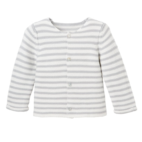 Gray Stripe Single Breast Knit Cardigan