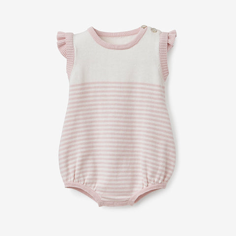 Blush Mini Stripe Cotton Knit Baby Bubble Romper