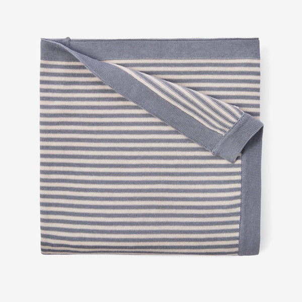 Light Teal Stripe Cotton Knit Baby Blanket