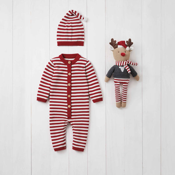 Holiday Striped Jumpsuit Baby Gift Set