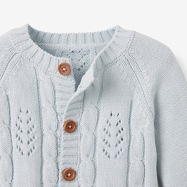 Pale Blue Leaf Knit Baby Cardigan