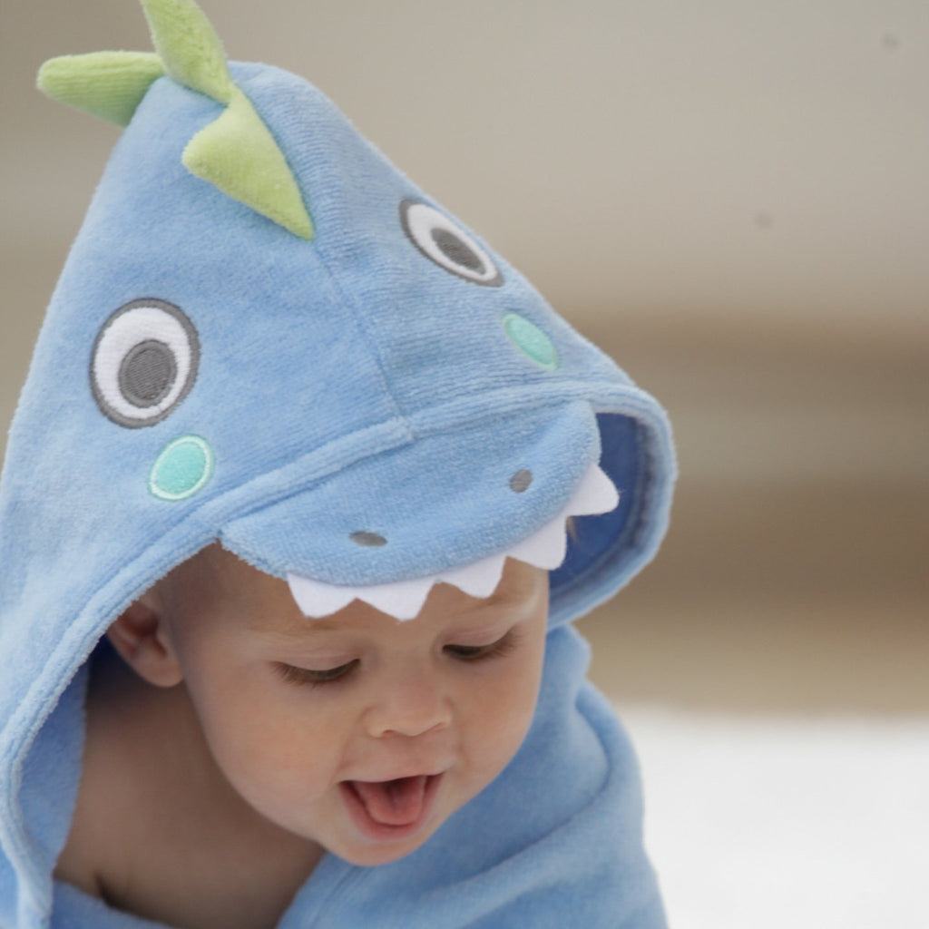 Blue Sea Serpent Hooded Bath Wrap