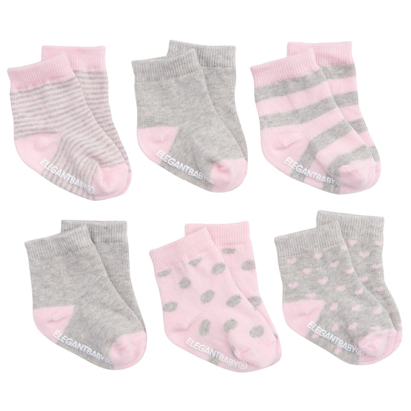 Pink/Gray Pattern Cotton Baby Socks 6 Pk