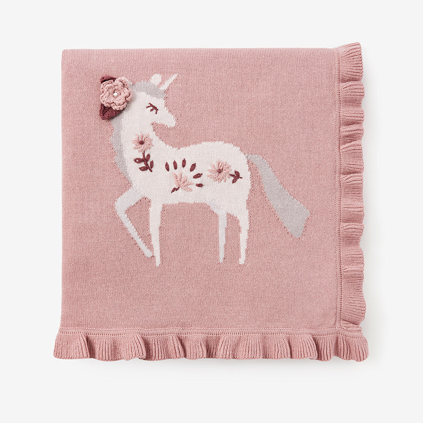 Floral Unicorn Knit Baby Blanket