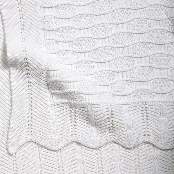 White Fancy Cotton Knit Baby Blanket