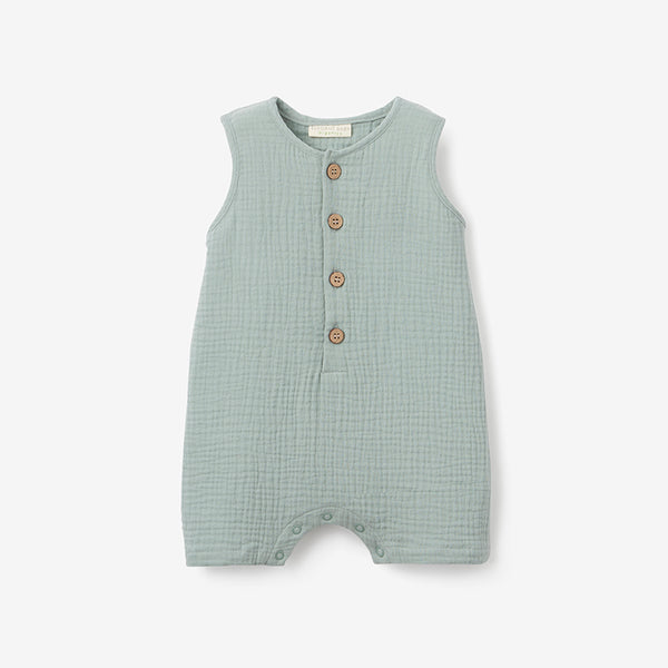 Light Sage Organic Muslin Button Down Shortall