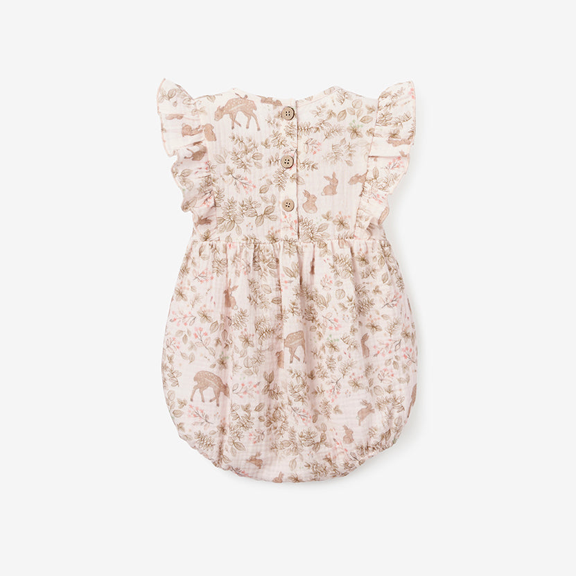 Woodland Print Organic Muslin Bubble Baby Romper