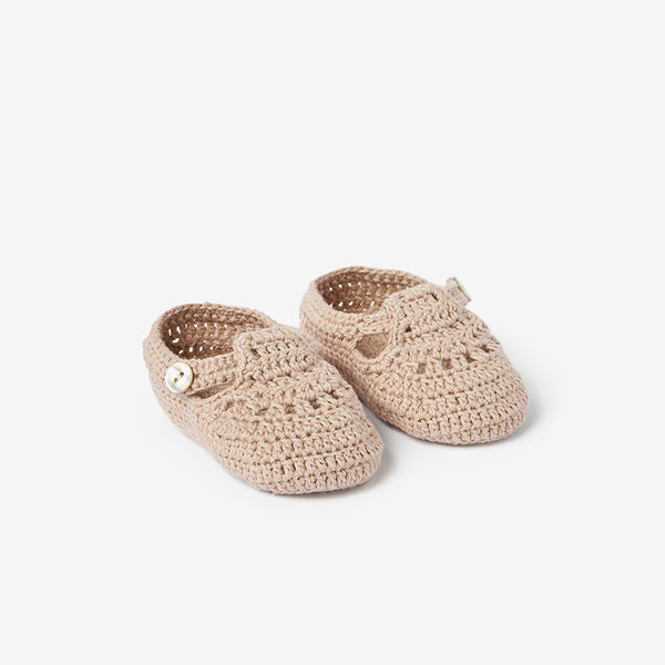 Doeskin T-Strap Hand Crocheted Baby Booties