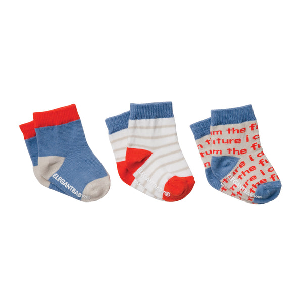 Boys' Organic Cotton Baby Socks 3 Pk
