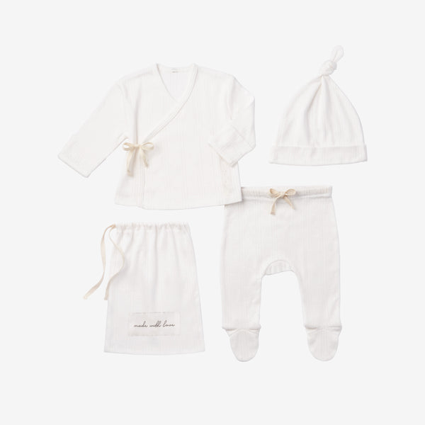 White Pointelle Layette Gift Set
