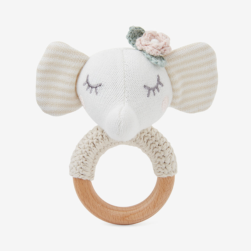 Elephant Princess Wooden Baby Rattle