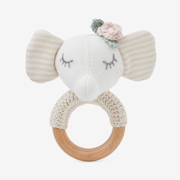 Elephant Princess Knit Baby Ring Rattle