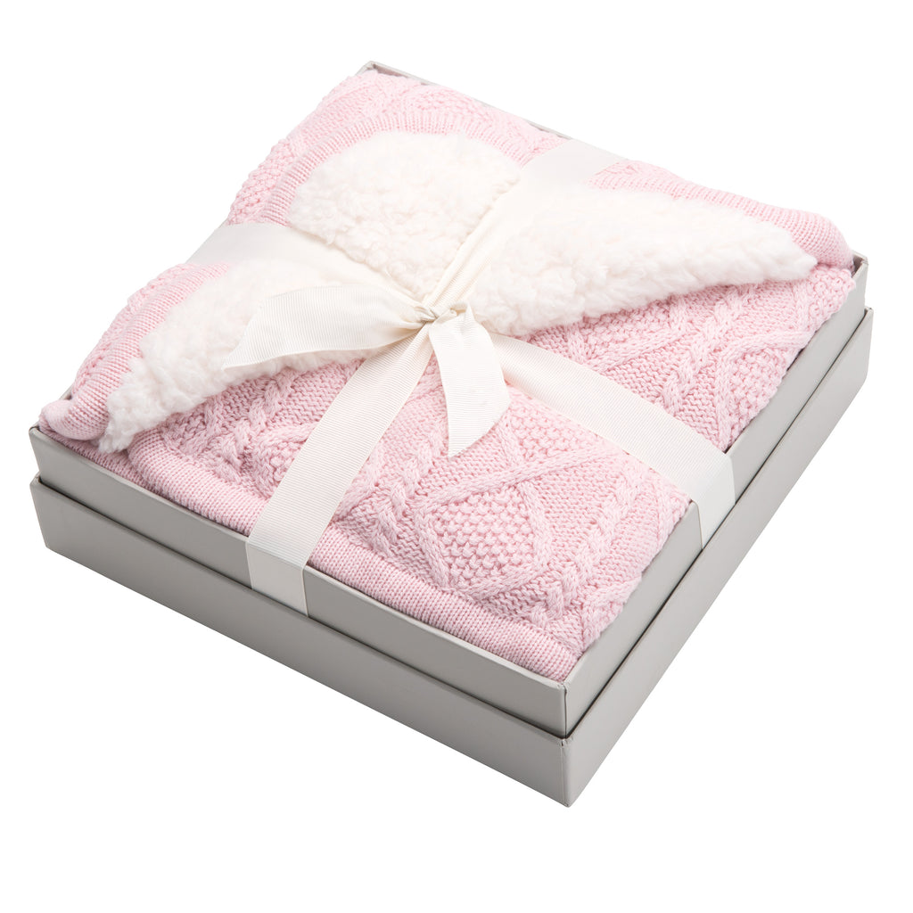 Pink Lattice Furback Blanket 30x40
