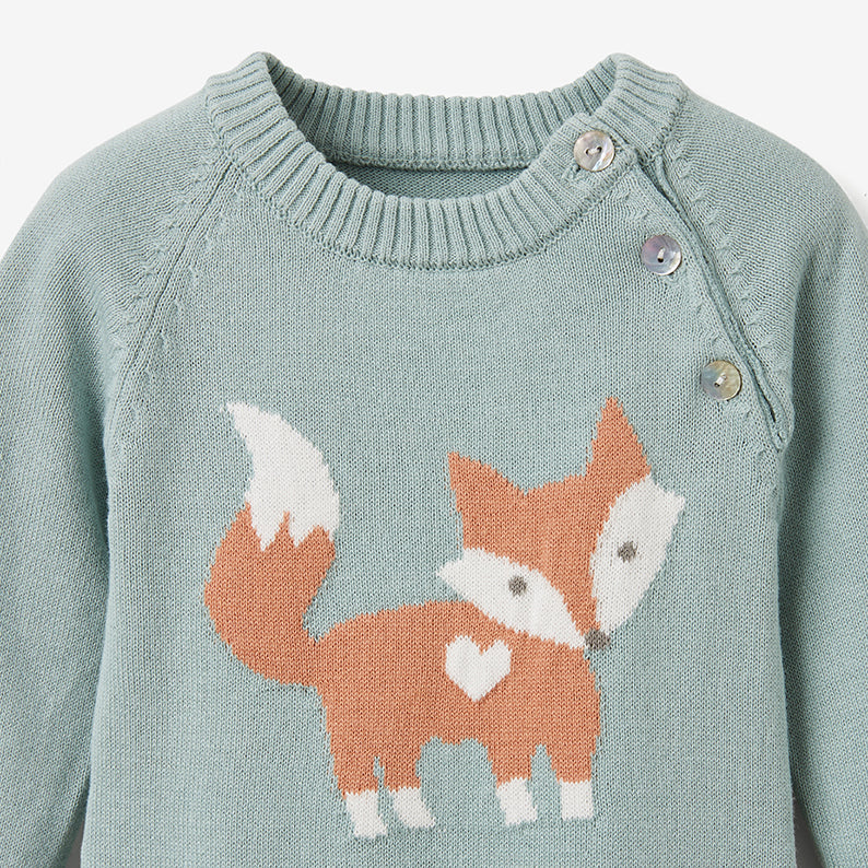 Fox Cotton Knit Baby Jumpsuit